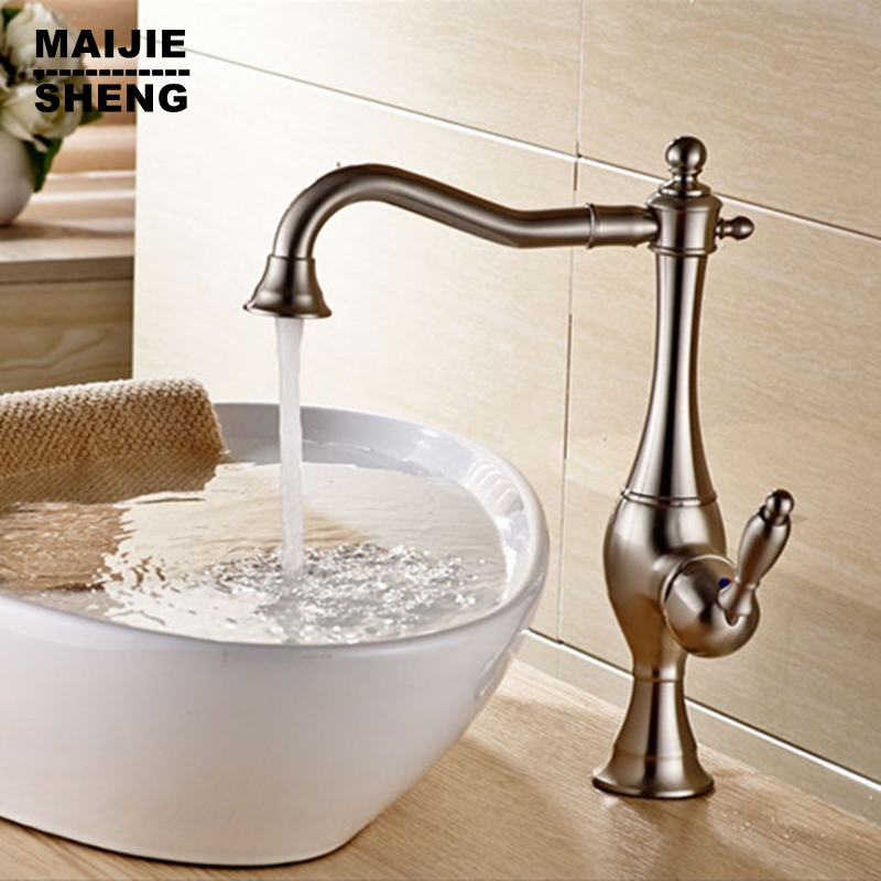 Brushed nickel kitchen faucet deck mounted sink tap blackened kitchen mixer none pull out torneiras