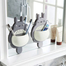 1Pcs Toothbrush Wall Mount Holder Cute Totoro Sucker Suction Bathroom Organizer Family Tools Accessories Drop Shipping(China)