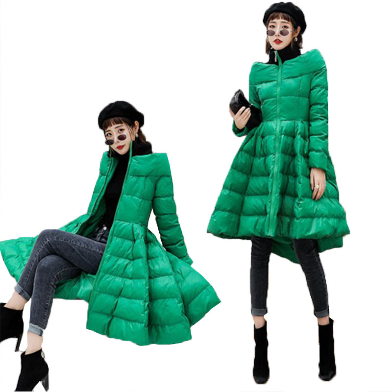 2019 New Winter Skirt Style Down Jacket Coat Women s One word collar Slim Fluffy Down