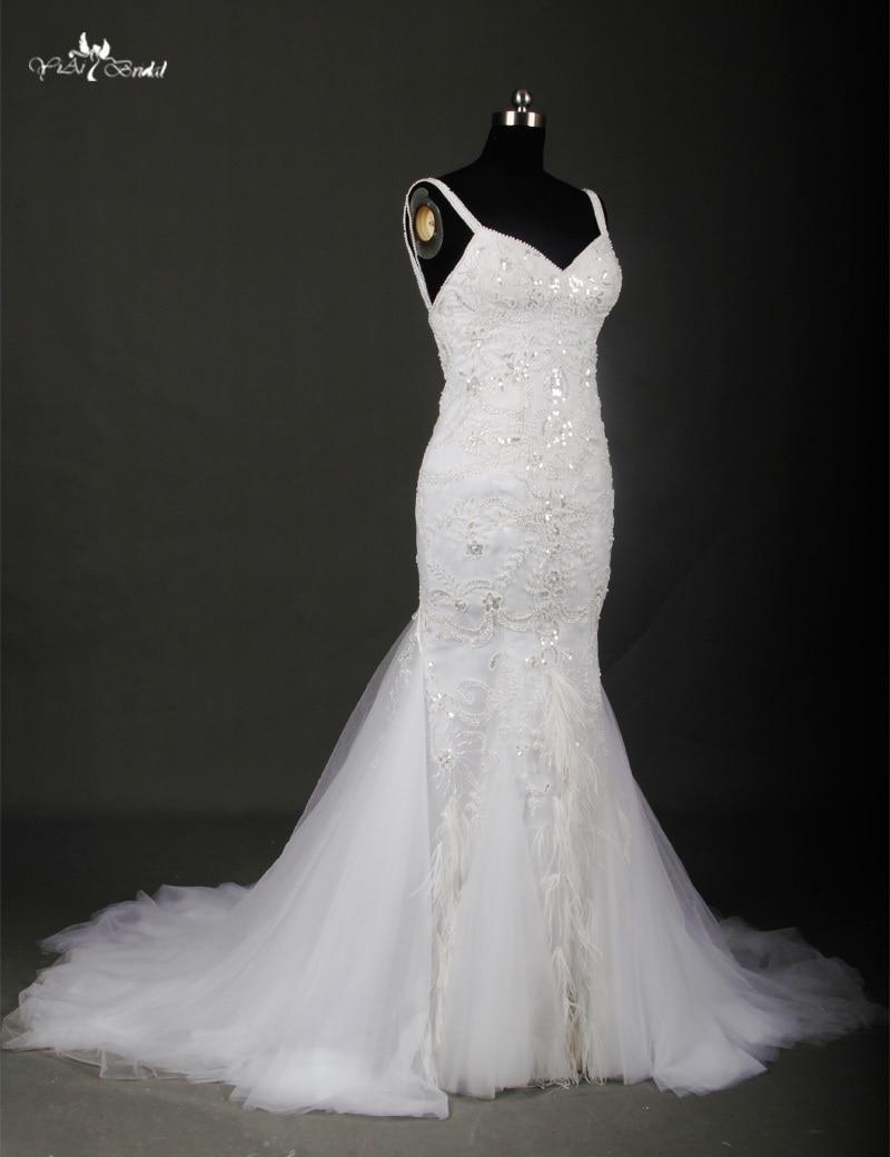 RSW715 Ostrich Feather Wedding Dress Crystal Beaded Mermaid Wedding ...