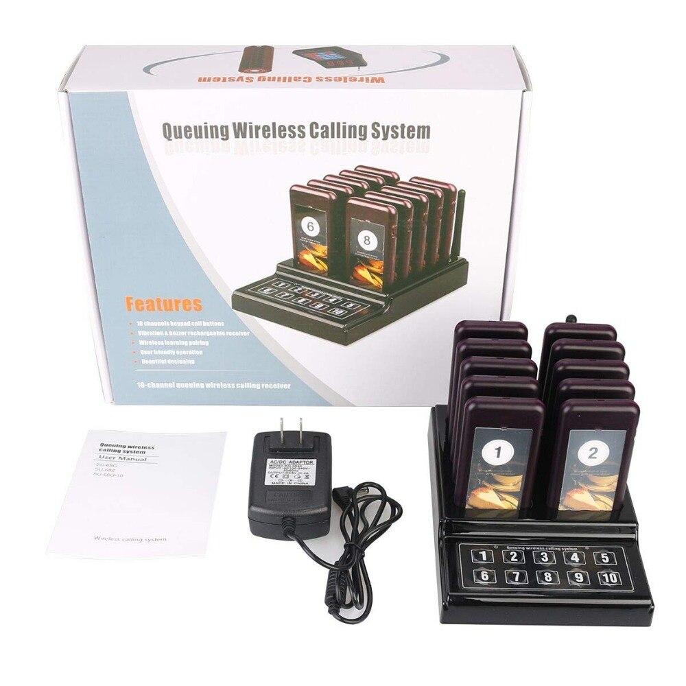 Restaurant téléavertisseur serveur sans fil appel en file d'attente système d'appel vibreur Quiz avec 1 émetteur de clavier + 10 téléavertisseur pour café église - 6