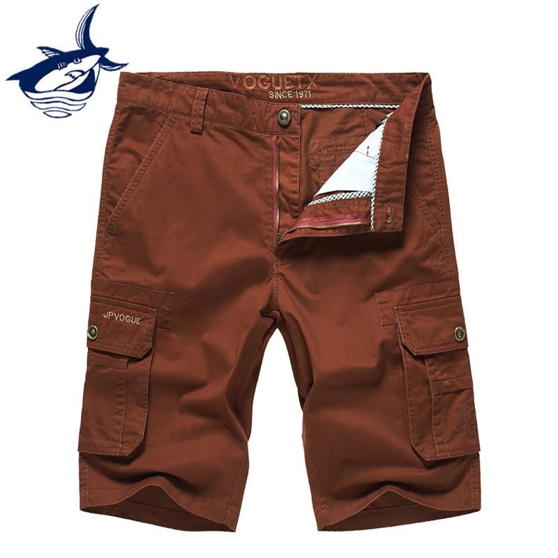 Casual shorts men brand Tace & Shark short masculino cotton straight pockets cargo shorts men clothes 2018 plus size 44