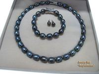 Hot sale new Style >>>>Great Gift! 10 11mm Black Fresh Water Pearls Necklace&Bracelet&Earrings