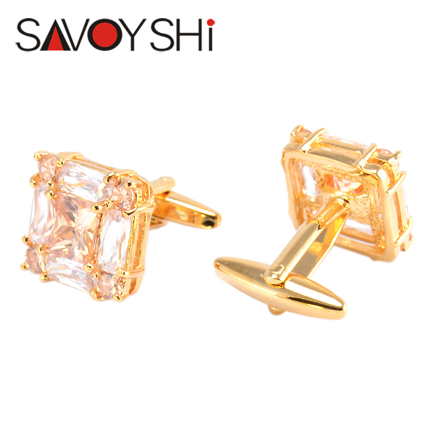 SAVOYSHI Luxury Zircon Cufflinks for Mens Shirt Cuff Accessories High Quality Square Cuff links Fashion Brand Men Jewelry Design