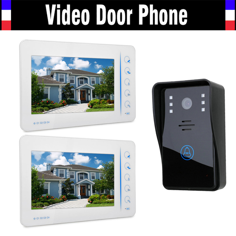 7″ Touch Screen Video Doorbell Door Phone Intercom System Door bell Doorphone Home Security Kits Support 4 Channel Camera 1V2