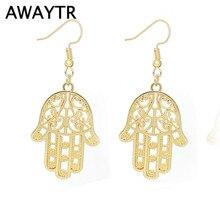 AWAYTR 2 Color Women Fashion Personality Punk Vintage Metal Palm Pendants Drop Earrings Alloy Hamsa Hand  Earrings Women Jewelry