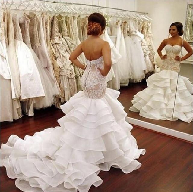 Fairy Tale Organza Mermaid Wedding Dresses 2017 Sweetheart Button ...