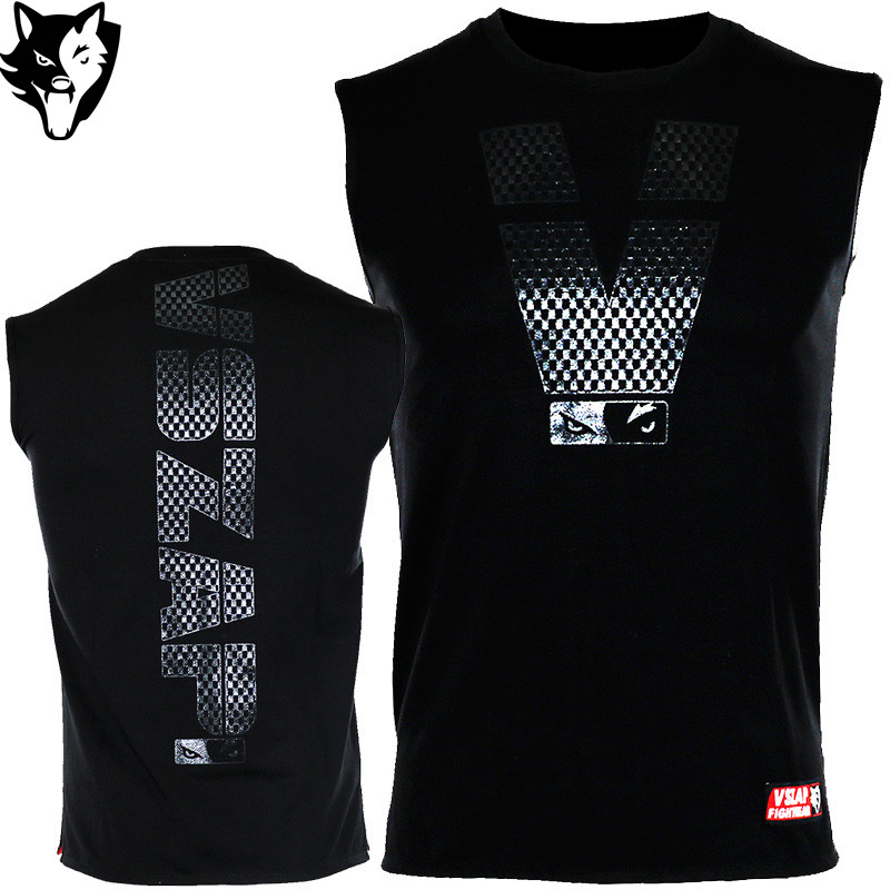 Vszap New Compressed Boxing For Men Cotton Sleeveless Kickboxing Training Top-Tees T-shirt Jerseys MMA Boxingkick Muay Thai