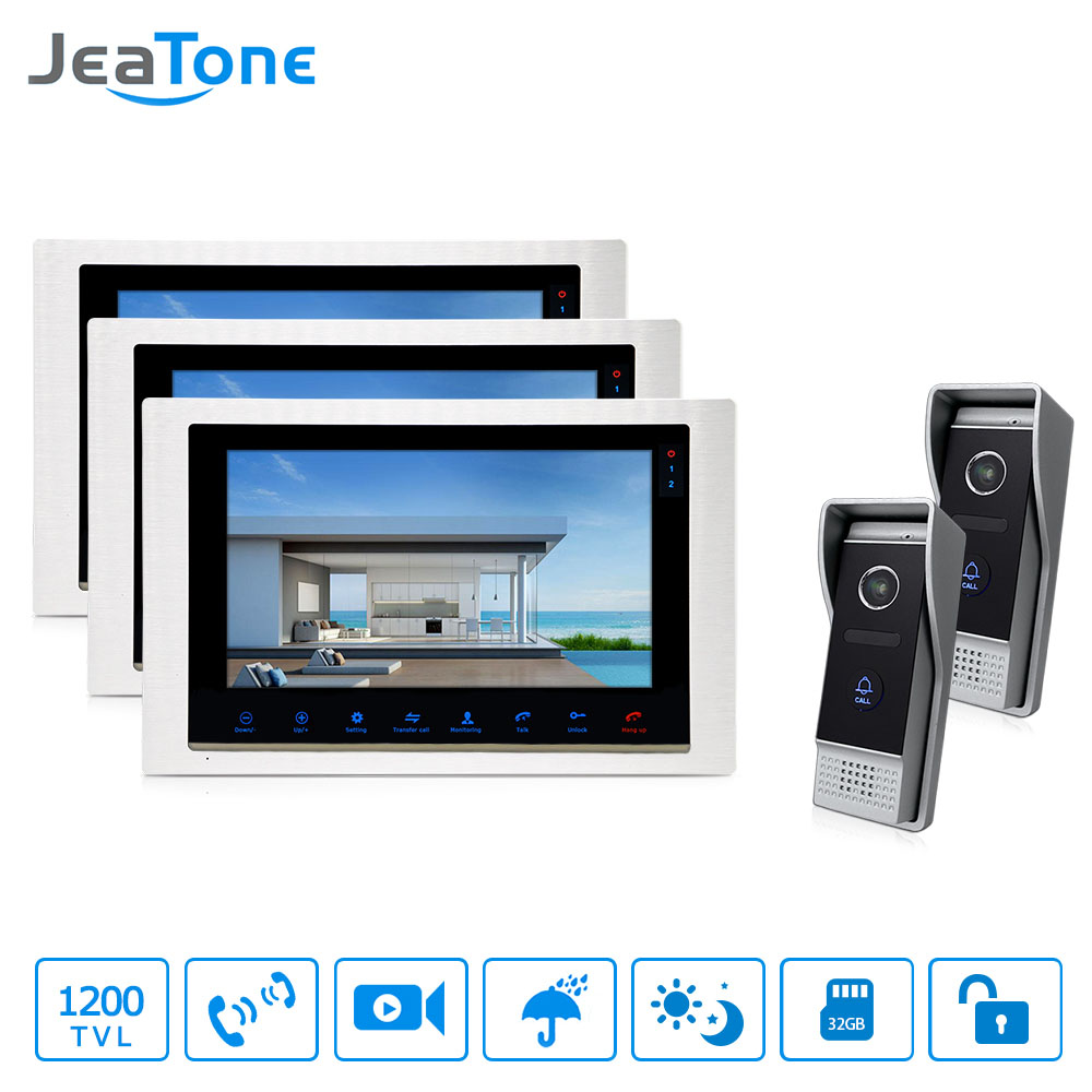 JeaTone 10 inch Wired Video Door Phone Doorbell Apartment Intercom With IR Night Vision  Camera Home security System Kit 3v2 jeatone video phone home intercom audio doorbell 3 7mm pinhole cameras with 4 indoor monitor screen wired office intercom