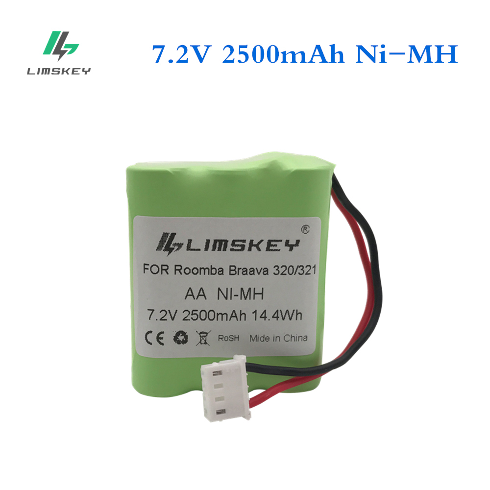 Limskey 7.2V Ni-MH Battery 2500mAh For IRobot Braava 320 321 For Mint 4200 4205 Floor Cleaner Robot 4408927 7.2 Volt