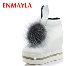 Airfour New Fur Ball Charms Shoes Woman High Heels Ankle Boots for Women Winter Warm 3 Colors White Fashion