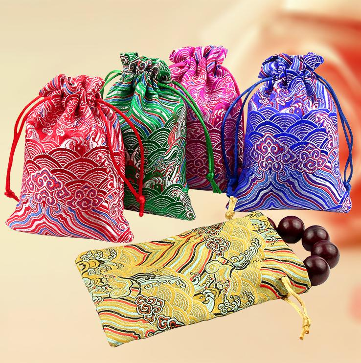 """Embroider Wave Silk Gift Bag 9x13cm(3.5""""x5"""") Pack Of 50 Chinese National Brocade Sachets Jewelry Drawstring Pouch"""