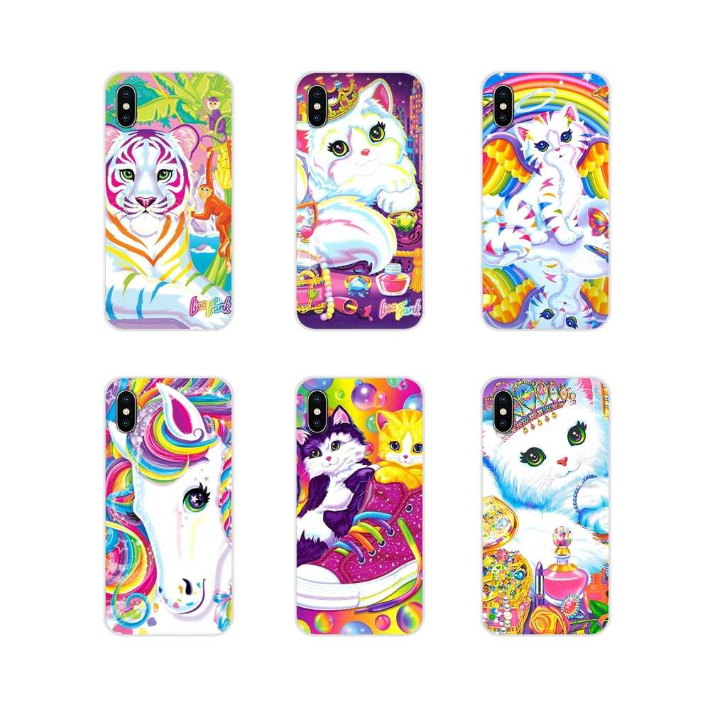 Для Apple IPhone X XR XS MAX 4 4s 5 5S 5C SE 6 6 S 7 8 Plus ipod touch 5 6 Rainbow Lisa Frank tiger horse dog Cat Art на выбор