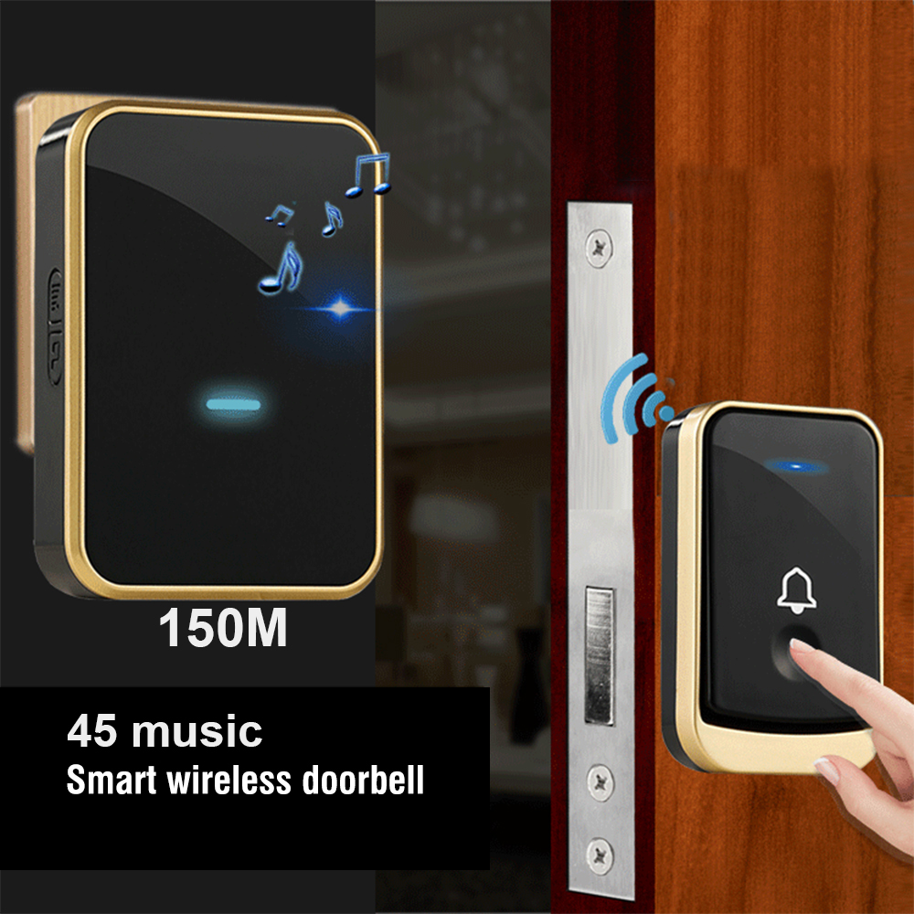 powered Wireless Door Bell Waterproof 150M Remote no battery smart home Door Bell 45 melodies chime 1 Transmitter Receiverpowered Wireless Door Bell Waterproof 150M Remote no battery smart home Door Bell 45 melodies chime 1 Transmitter Receiver