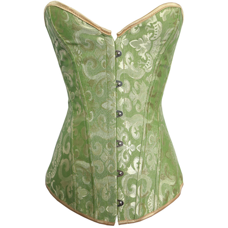 Sexy Corselet Women Bustiers Top Satin Embroidery Boned Overbust Corsets Sexy Lingerie S-XXL