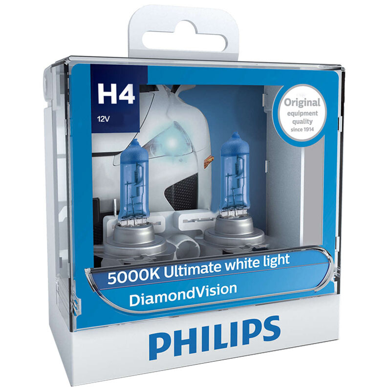 Philips Halogen Headlight Auto-Bulbs P43t Diamond-Vision Super 5000K 12V 9003 2X 60/55w