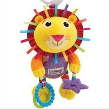 22cm Colorful Crib pendant Lovely lion Rattle for baby boy Soft baby toys for enlightenment with Teether and Ring paper