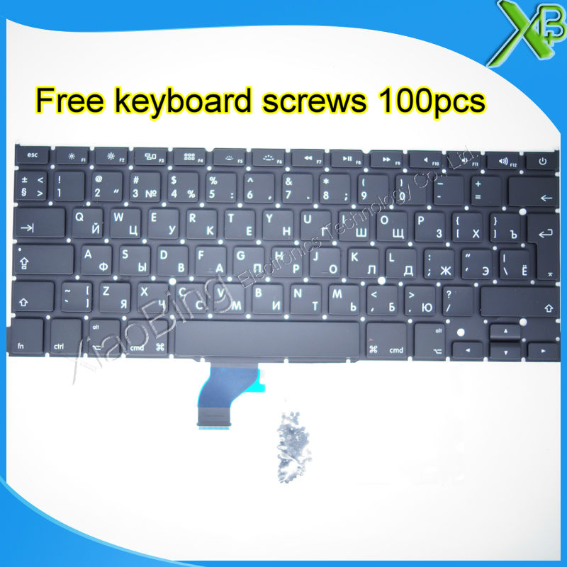 Brand New For MacBook Pro Retina 13 3 A1502 RU Russian keyboard 100pcs keyboard screws 2013
