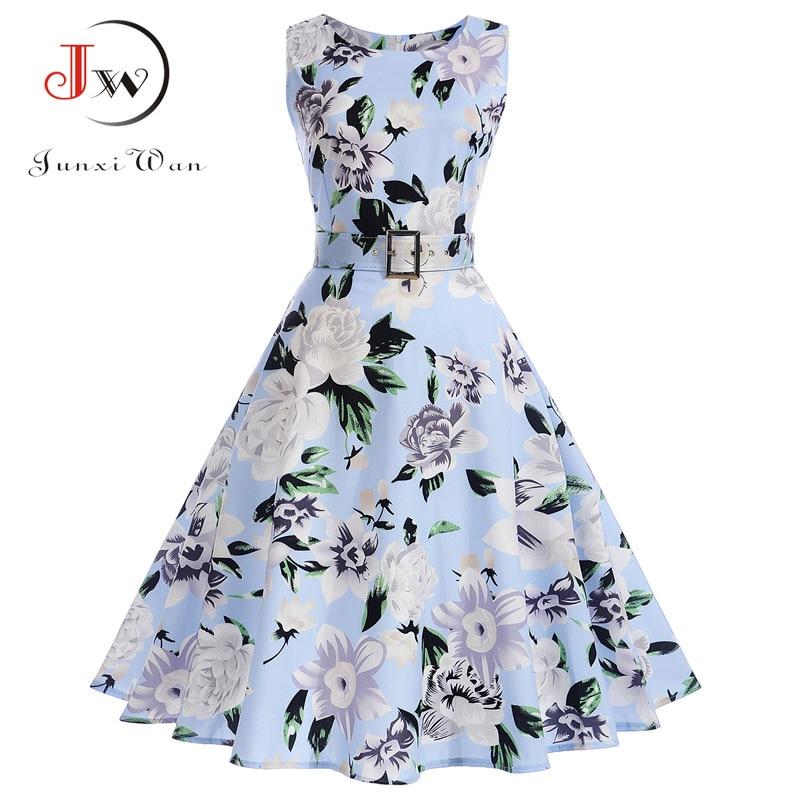 Vestidos Vintage Dress Summer Floral Print Sleeveless Party Dresses 50s 60s Elegant Rockabilly Sexy Pin Up Dress With Belt