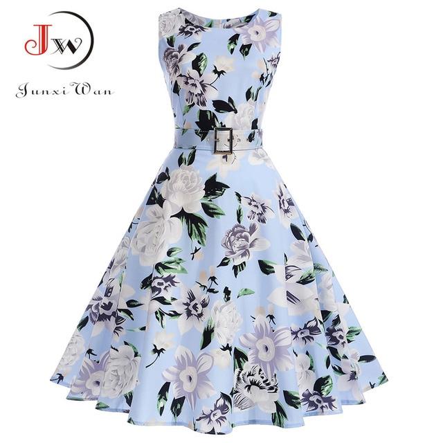 Vestidos Vintage Dress Summer Floral Print Sleeveless Party Dresses 50s 60s  Elegant Rockabilly Sexy Pin Up Dress with Belt 5902c3e8f