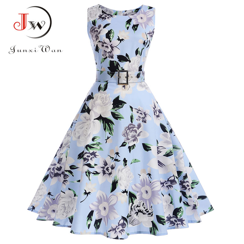 Vestidos Vintage Dress Summer Floral Print Sleeveless Party Dresses 50s 60s Elegant Rockabilly Sexy Pin Up Dress with Belt