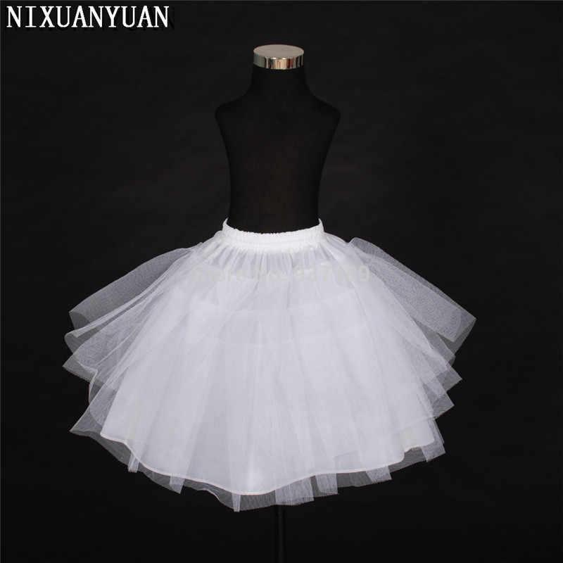 2020 livraison gratuite Top qualité Stock trois couches Net blanc a-ligne fleur fille robe jupon/enfant Crinolines/sous-jupe