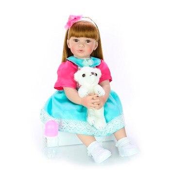 60cm Big Size Reborn Toddler Doll Toy Lifelike Vinyl Princess Baby girl Customized dress cotton Body bebes reborn gift