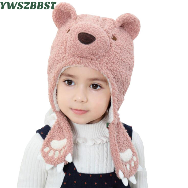 New Fashion Baby Hat with Bear Ear Foot Autumn Winter Ear-cap Plush Warm Caps for Girls and Boys