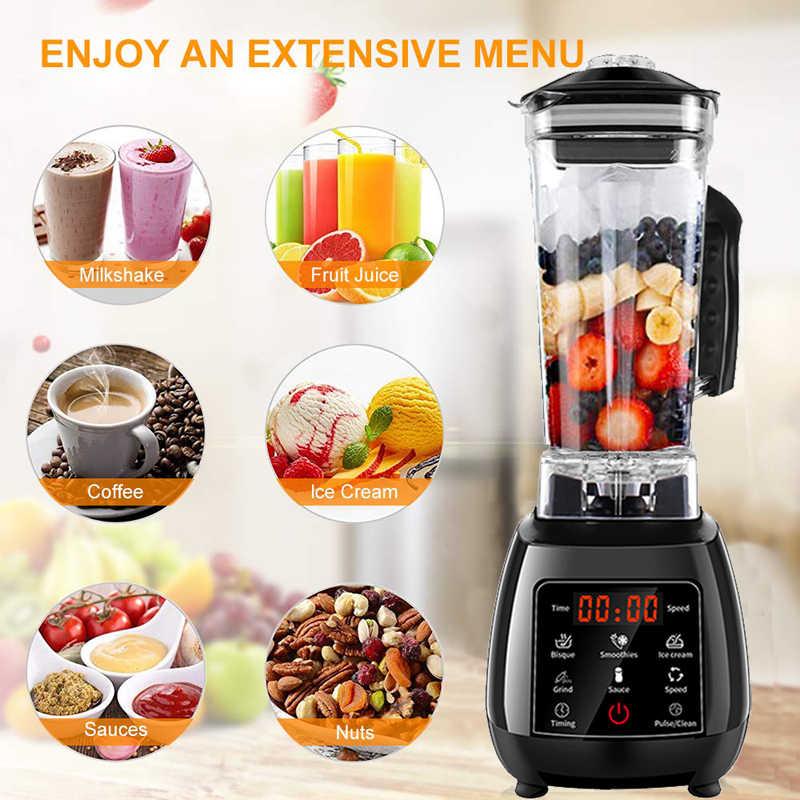 2200W BPA LIVRE Touchscreen Digital Automático 2L Profissional Misturador Liquidificador Processador de Alimentos Espremedor De Alta Potência Gelo Smoothies de Frutas