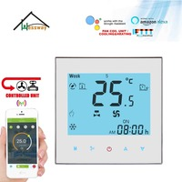 HESSWAY TUYA NC NO switch WIFI thermostat regulator temperature controller 2 pipes heating cooling for fan coil unit 3 speed