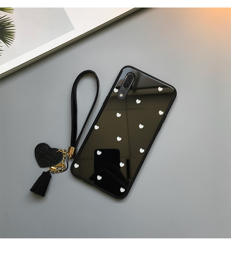 For samsung galaxy A30 A50 A70 A20 A40S Tempered Glass Case Love heart Cover For Samsung A50 A70 A30 A20 Tassel Lanyard Funda