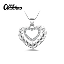 2017 New Arrival Luxury 925 Silver  Love Heart Pendant Necklace for Women Wedding Fine Jewelry R120