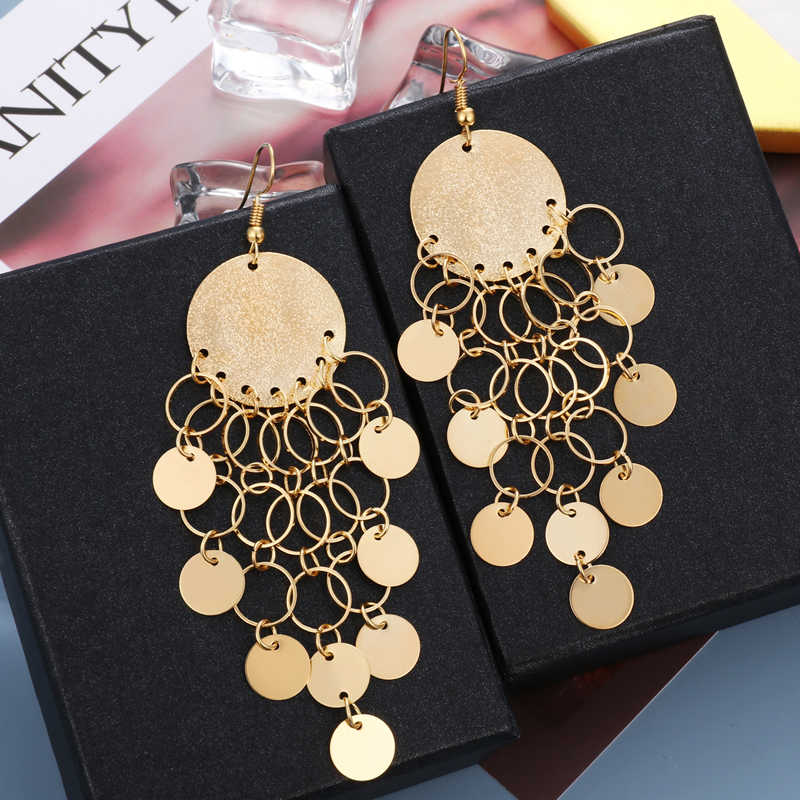 Fashion Earrings Women Gold Silver Drop Earrings For Women Jewelry Long Metal Tassel Dangle Statement Women Earrings Jewelry