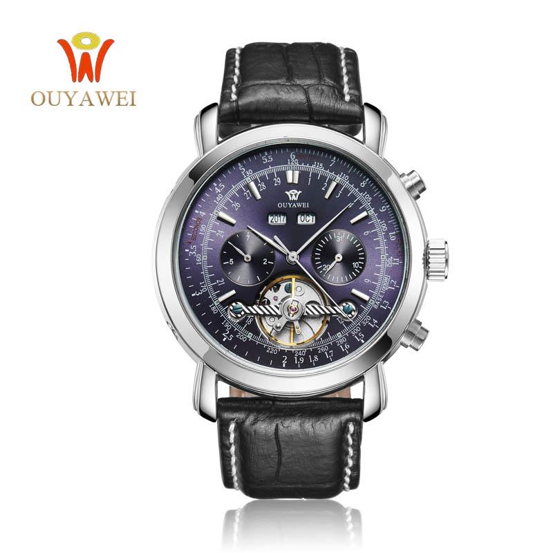 Prix pour Ouyawei tourbillon mécanique automatique montres hommes armée bracelet montres montre mecanique 24mm en cuir squelette reloj hombre xfcs
