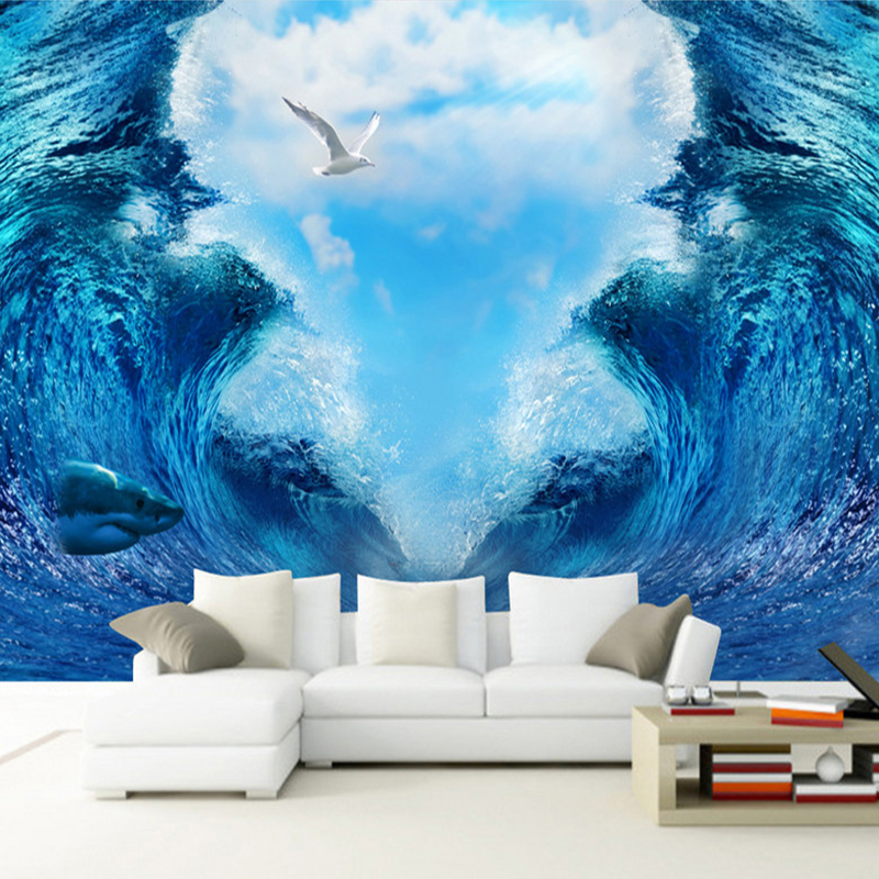 High Quality Custom 3D Mural Wallpaper Sea Waves Space Background Wall Decoration Painting Living Room TV Backdrop Wall Covering aerocool 15 blade 1 56w mute model computer cpu cooling fan black 12 x 12cm 7v