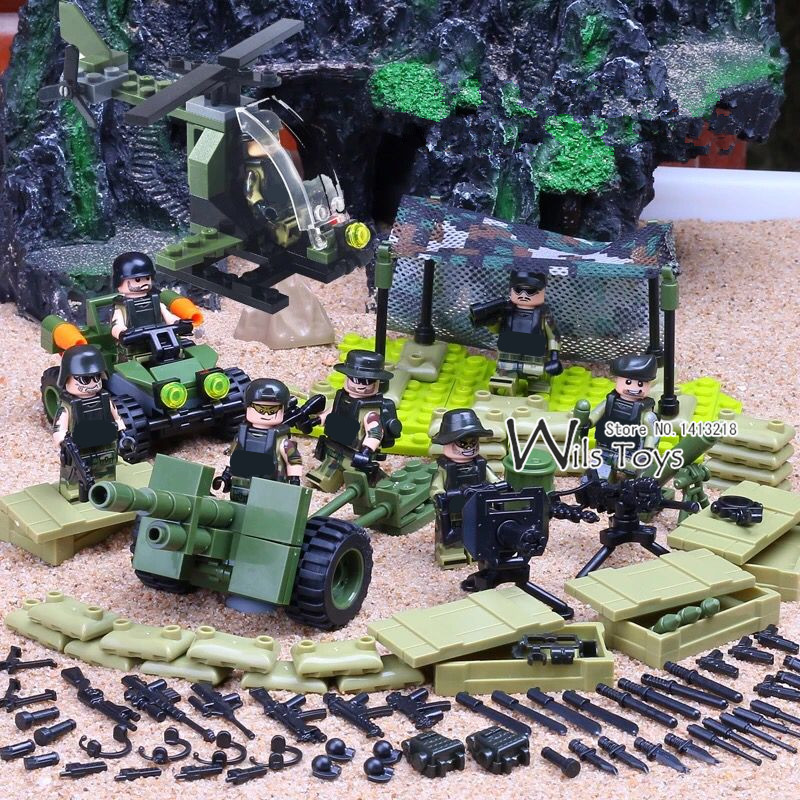 где купить 4 in 1 Jungle Special Force MILITARY Army WW2 SWAT Camouflage Soldier Navy Seals Team Building Blocks Bricks Figures Toys Boys по лучшей цене