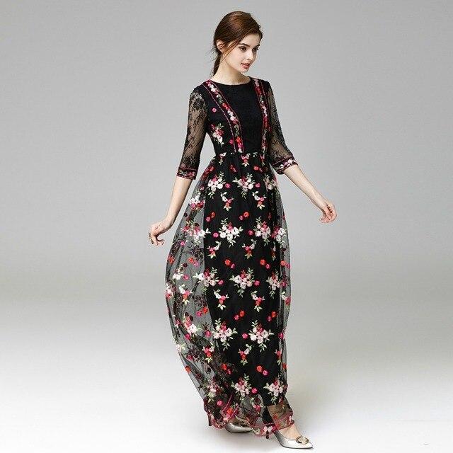 Robe longue femme a fleur