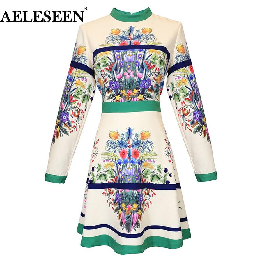 AELESEEN frauen Runway Kleid 2018 Vintage Frühling Herbst Blume Drucken Kleid Femme Langarm Blume Elegante Kleid Vestidos-in Kleider aus Damenbekleidung bei  Gruppe 1