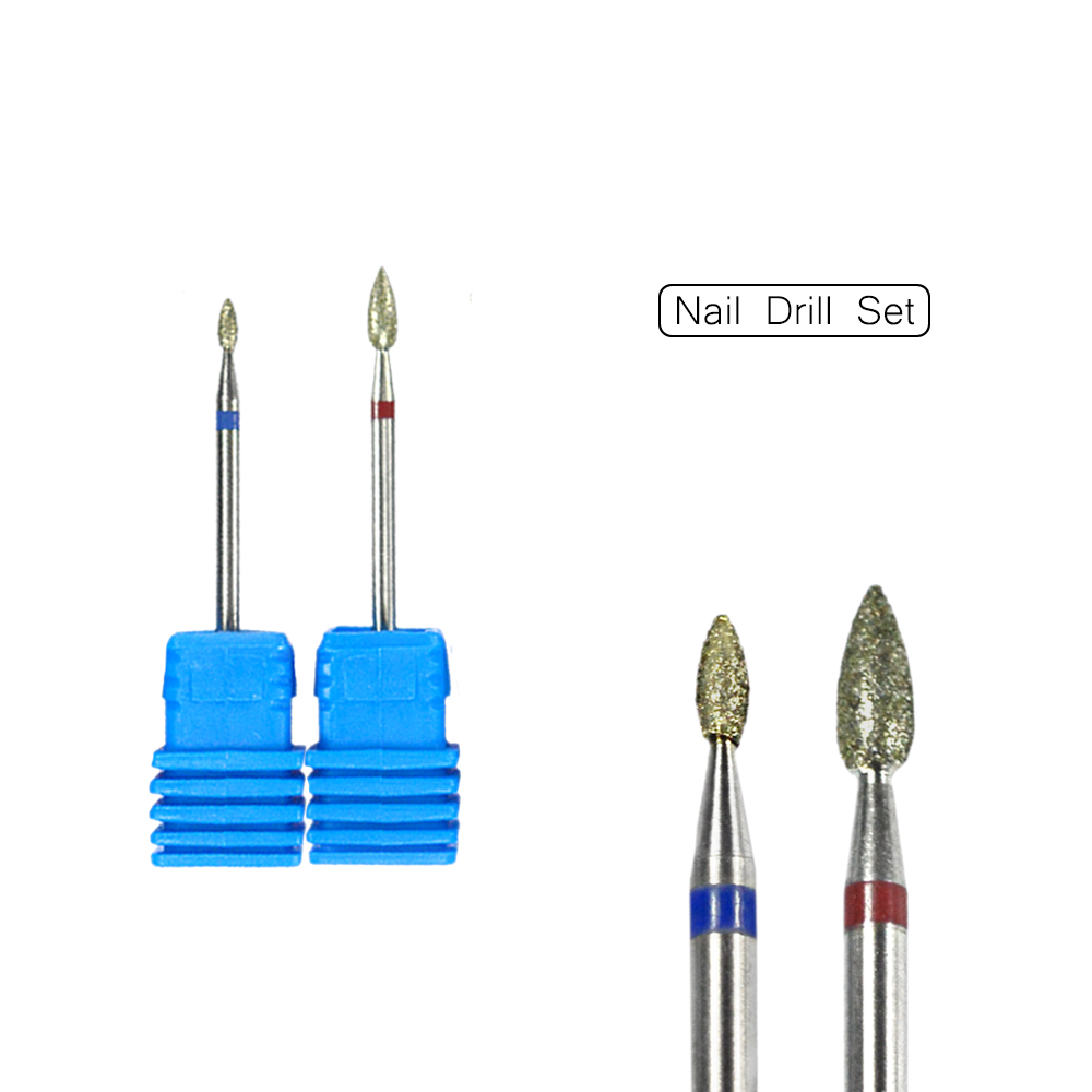 2 Pcs Diamond Burr Bit Nail Drill Stainless Steel Cuticle Cleaning ...