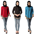 Té de la burbuja 2017 Nuevas Mujeres Camisa de Manga Larga Musulmán Islámico Dubai Abaya Cáñamo Superior Del O-cuello 3 Ropa de Color De Moda Malasia caliente