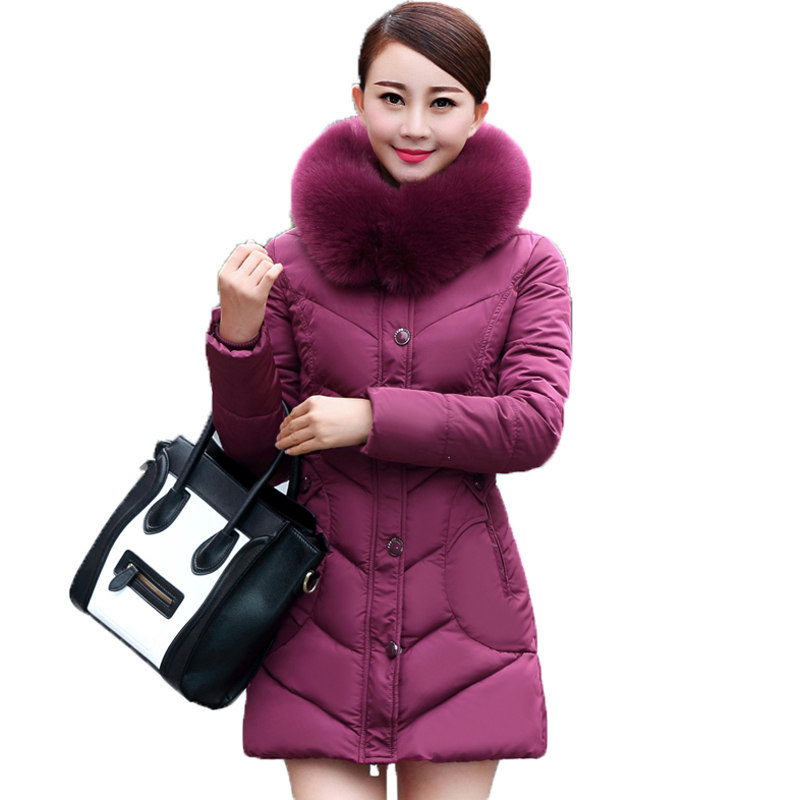 2017 Women's Big Fur Collar Hooded Thickening Jacket Winter Cotton-padded Coat Slim Female Fashion Casual Parkas Big Size SS878 fashion 2017 women winter jacket warm fur hooded parkas female long casual cotton padded thickening winter coat outwear cm1412