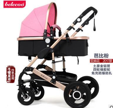 Belecoo Высокая Пейзаж Роскошная детская коляска 0-36 месяцев коляска надувной натуральный каучук колеса детская коляска - Цвет: Pink