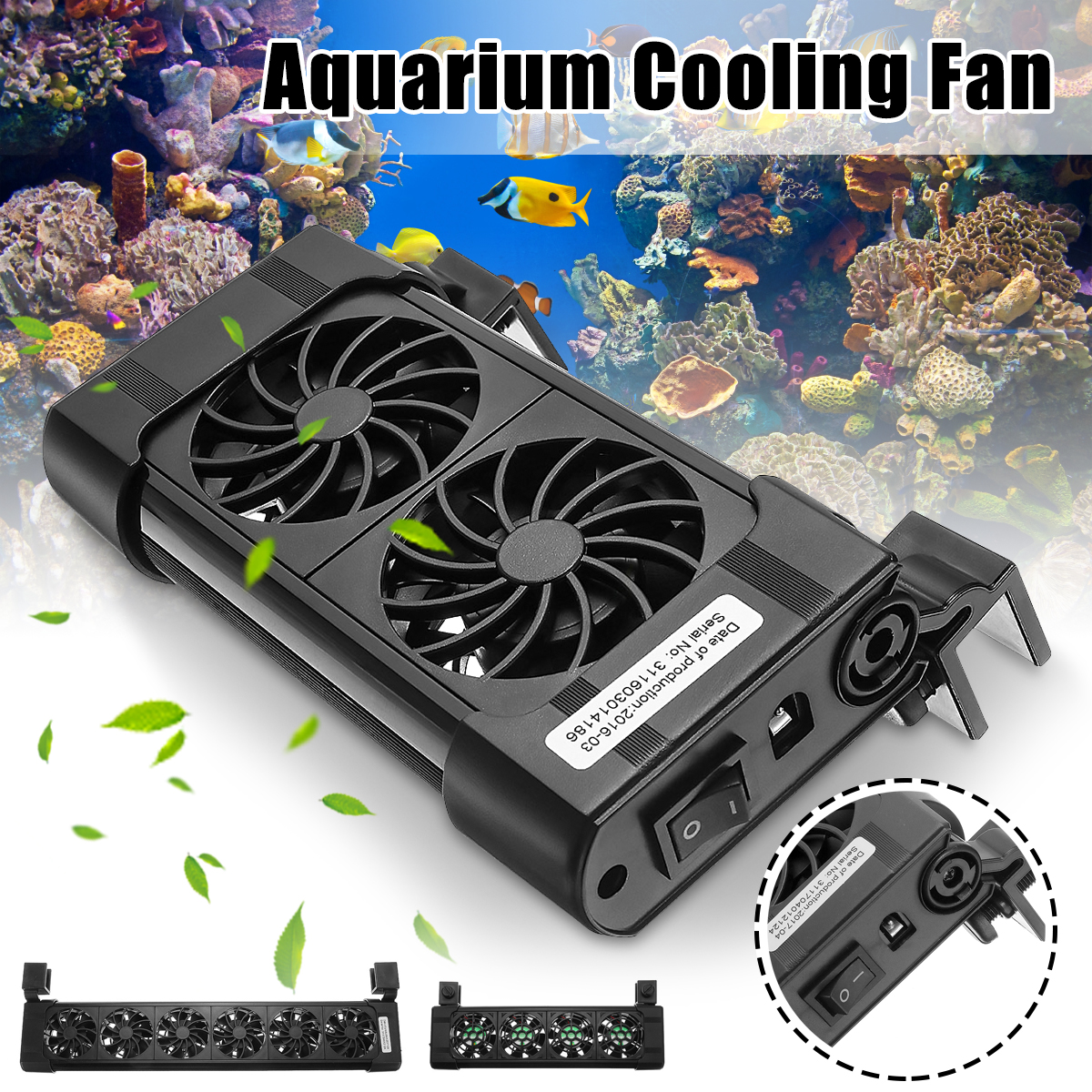 2/3/4/5/6 Heads Fan Black Aquarium Fish Tank Cooling Fans Cold Wind Chiller Adjustable Water Cooler Temperature Control Products2/3/4/5/6 Heads Fan Black Aquarium Fish Tank Cooling Fans Cold Wind Chiller Adjustable Water Cooler Temperature Control Products