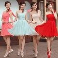 robe demoiselle d'honneur2017chiffon one shoulder Coral color bridesmaid dress short  cheap bridesmaid dresses under 50