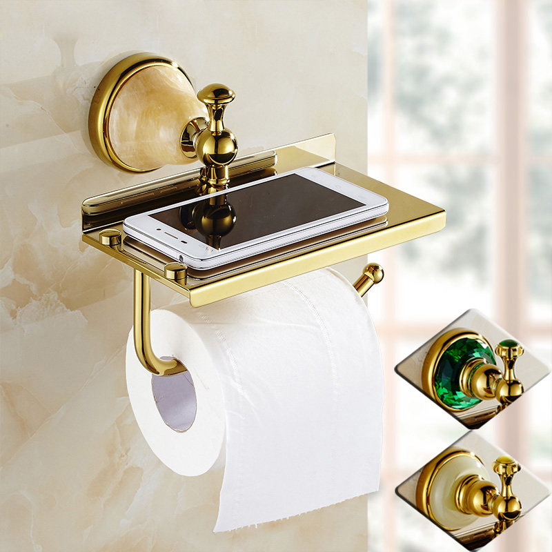 Luxury Design Bathroom Wall Mounted Golden Toilet Paper Holder Bar Mobile /phone Rack Roll Paper Tissue Shelf стоимость