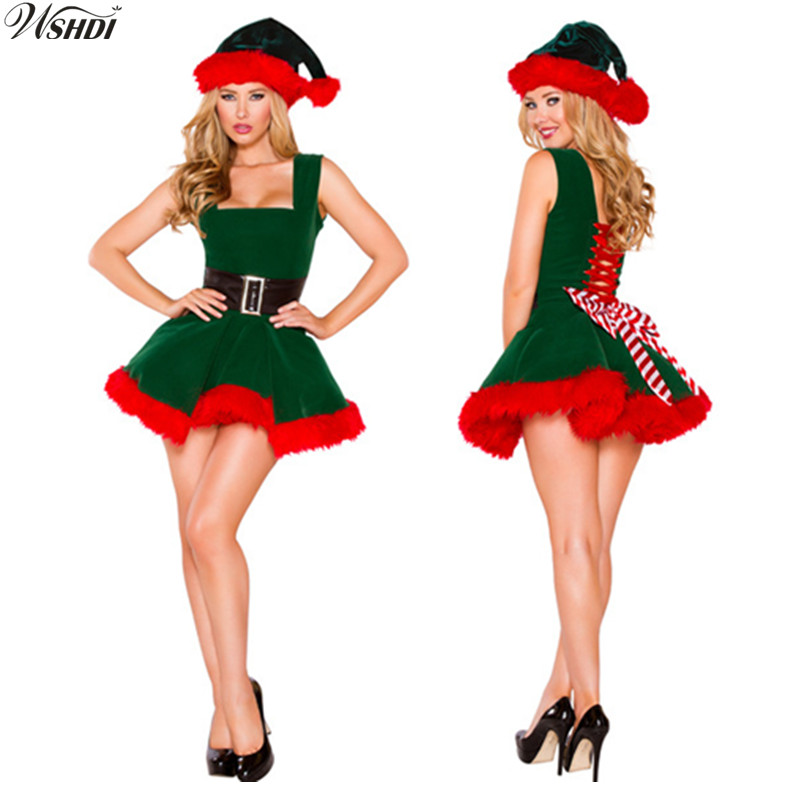 Deluxe Sexy Green Elf Santa Claus Costumes Adult Women Christmas Fancy Dress Costumes Xmas Cosplay Party Costume