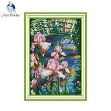 Joy sunday scenic style Iris pool home ornament simple modern cross stitch patterns tapestry kits online