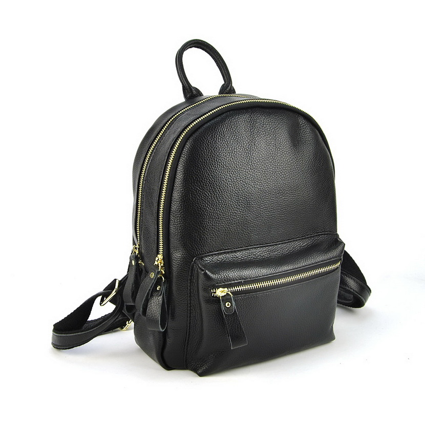 Women Genuine Real Cow Leather Backpack School Book Bag Shoulder Purse Casual Fashion Lady Laptop Double Zip Compartment Small