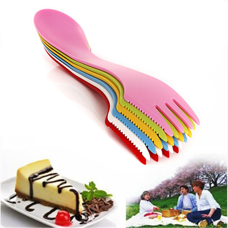 1pc Heat Resistant Plastic Outdoor Travel Picnic Spoon Fork Knife Camping Hiking Utensils Spork Combo Gadget Cutlery Travel