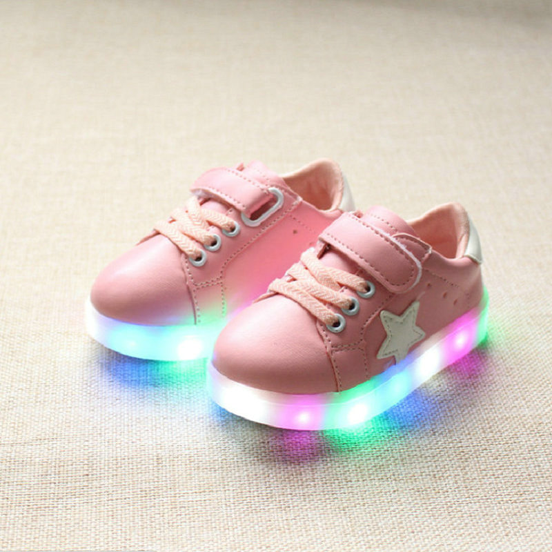 Kids Light Up Sneakers 2018 Autumn New Korean Fashion Children Led Shoes Kids Casual Sne ...